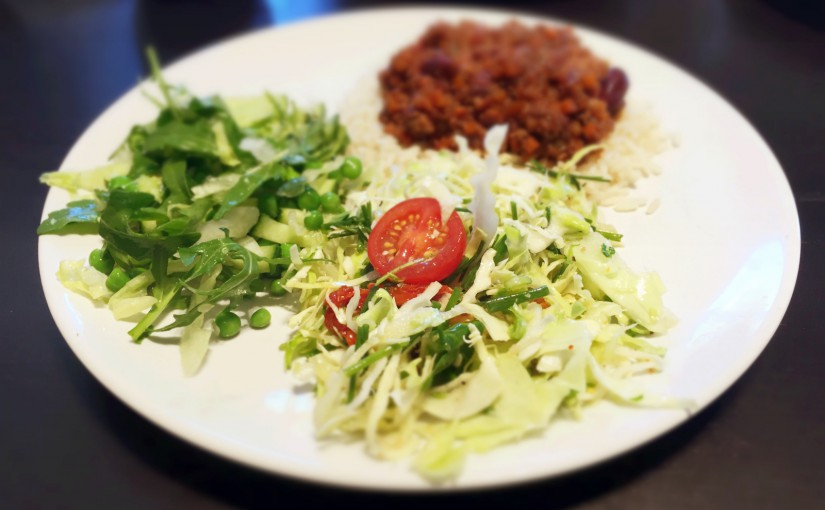 Dagens frokost: Chili con carne med 2 grønne salater